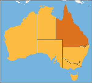 Location of Queensland on Australia.
